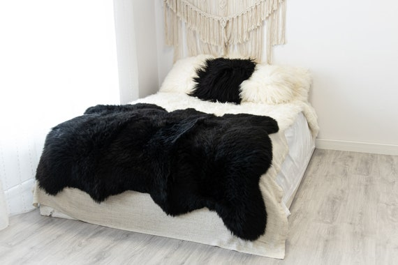 Triple Black Merino Sheepskin Rug | Long rug | Shaggy Rug | Chair Cover | Area Rug | Black Rug | Carpet | Black Sheepskin Merino Black