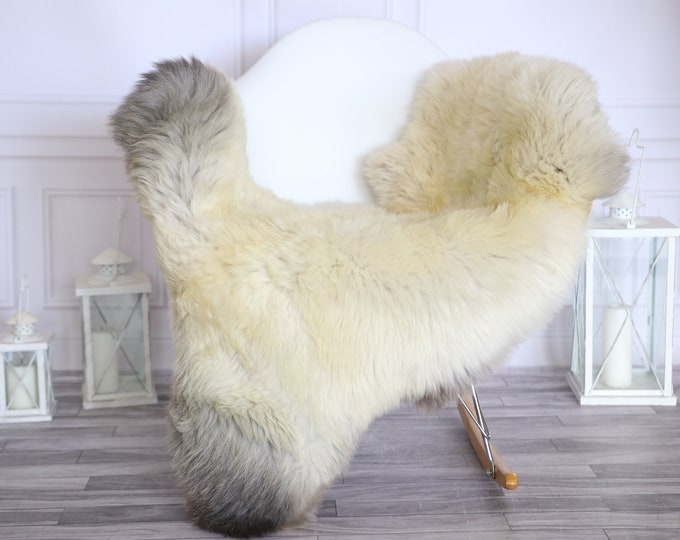 Sheepskin Rug | Real Sheepskin Rug | Shaggy Rug | Scandinavian Rug | | SCANDINAVIAN DECOR | Beige Gray Sheepskin  #MIHER42