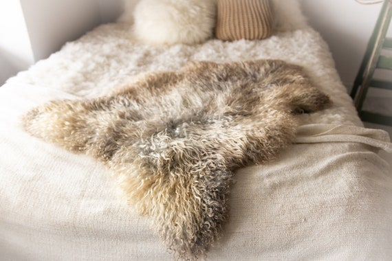 Real Sheepskin Rug Genuine Rare Gotland Sheepskin Rus - Curly Fur Rug Scandinavian Sheep skin - Gray Gold Sheepskin #Bohgot11