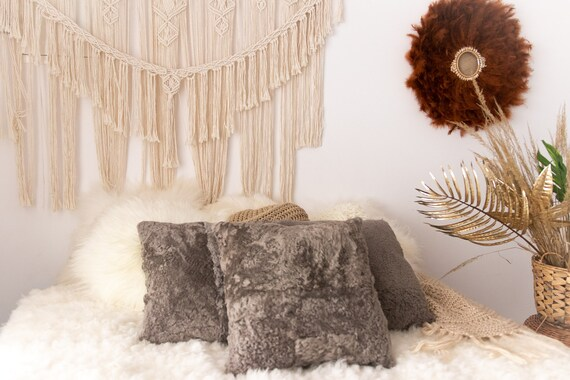 Gray Sheepskin Pillow | Decorative Pillows | Shaggy Pillow | Shaggy Cushion | Sheepskin Cushion | Sheepskin Pillow | Fur Pillow