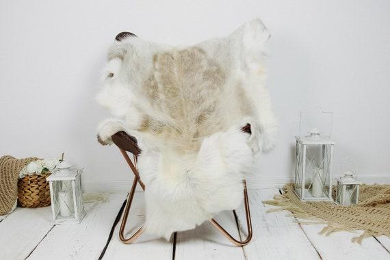 Reindeer Hide | Reindeer Rug | Reindeer Skin | Throw XXL EXTRA LARGE - Scandinavian Style Christmas Decor Brown White Hide #Kre27