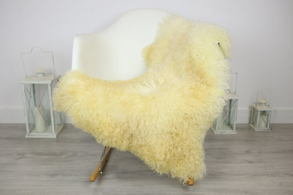 Genuine Rare Tuscan Lamb Sheepskin Rug - Curly Fur Rug - Natural Sheepskin - Ivory Sheepskin | Small Sheepskin #3MARGOT3