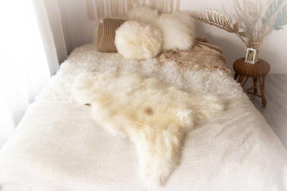 Real Sheepskin Rug Shaggy Rug Chair Cover Sheepskin Throw Sheep Skin Ivory Brown Sheepskin Home Decor Rugs #KWAHER5