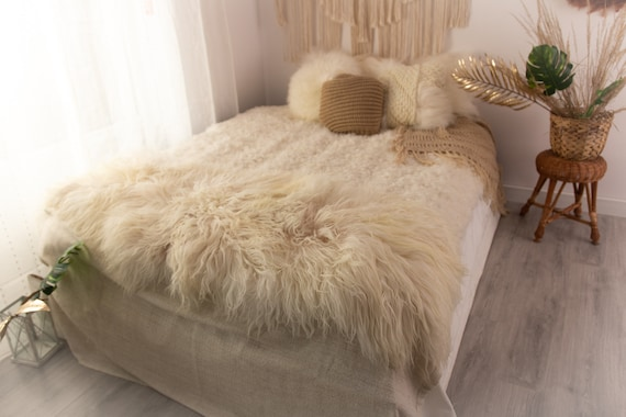 Double Sheepskin Rug | Long rug | Shaggy Rug | Chair Cover | Runner Rug | Ivory Rug  | Beige Sheepskin  POL3
