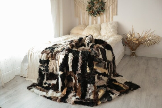 Luxurious Patchwork Toscana Sheepskin Real Fur Throw | Real Fur Blanket | Sheepskin throw | Boho Throw  | FUFU13