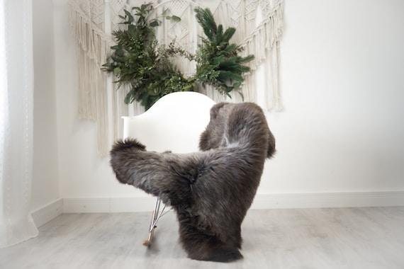 Real Sheepskin Rug Shaggy Rug Chair Cover Scandinavian Home Sheepskin Throw Sheep Skin Brown Gray Sheepskin Home Decor Rugs #herdwik375