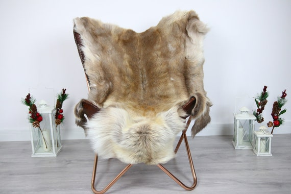 Reindeer Hide | Reindeer Rug | Reindeer Skin | Throw  - Scandinavian Style #ERE5 140x110 | Christmas Decor |