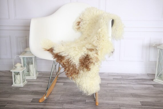 Genuine Rare Tuscan Lamb Sheepskin Rug - Curly Fur Rug - Natural Sheepskin - Ivory Brown Sheepskin | Small Sheepskin #2MARGOT15