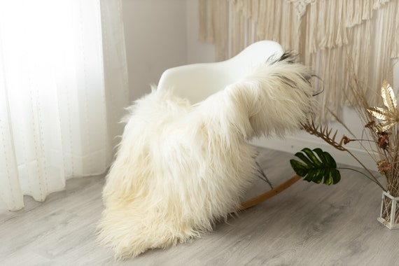 Real Icelandic Sheepskin Rug Scandinavian Decor Sofa Sheepskin throw Chair Cover Natural Sheep Skin Rugs Ivory Brown Fur Rug #Urisl14