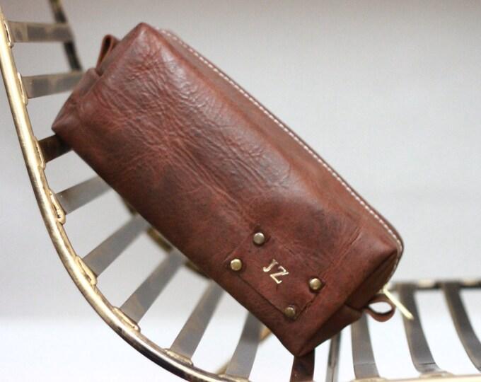 Handmade Men's Real Leather Toiletry Case Dopp Kit Shaving Bag OOAK Groomsmen Large Personalized