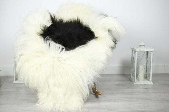 Icelandic Sheepskin | Real Sheepskin Rug | Sheepskin Rug Ivory Black | Fur Rug | Homedecor #3Isl22