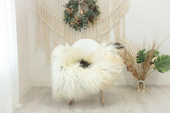 Real Icelandic Sheepskin Rug Scandinavian Decor Sofa Sheepskin throw Chair Cover Natural Sheep Skin Rugs Ivory Brown #Iceland105