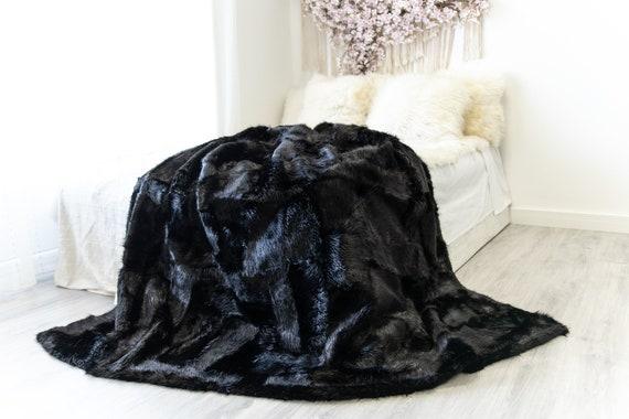 Rare Exclusive Genuine Natural Nutria Rug, Pelt, soft l Real Nutria Throw Real Nutria Blanket| Exclusive Throw Black Nutria Throw