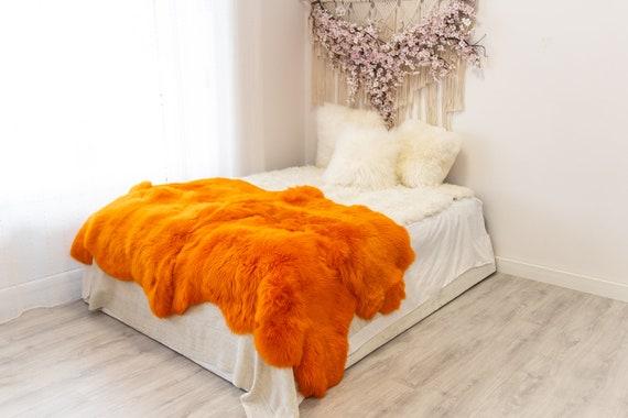 Quad Orange Merino Sheepskin Rug | Long rug | Shaggy Rug | Chair Cover | Area Rug | Orange Rug | Carpet | Orange Throw | Sheep Skin
