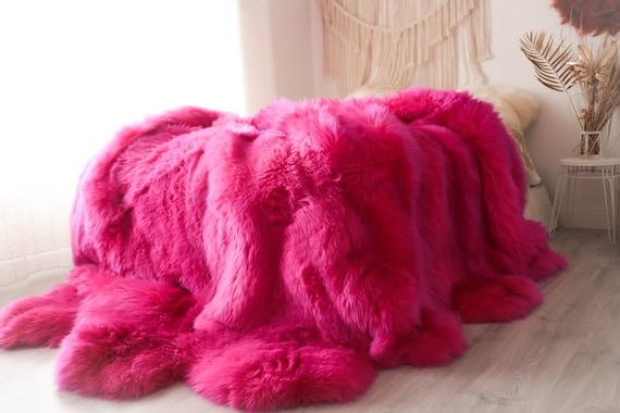 Pink Sheepskin Real Fur Sheepskin Throw | Super Large | Sheepskin Rug | Boho Blanket | Merino Pink