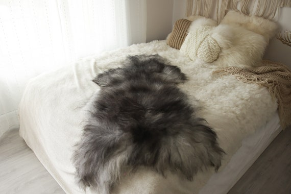 Real Icelandic Sheepskin Rug Scandinavian Decor Sofa Sheepskin throw Chair Cover Natural Sheep Skin Rugs Black Gray Fur Rug #Islbeau40