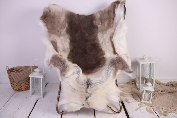 Reindeer Hide | Reindeer Rug | Reindeer Skin | Throw XXL EXTRA LARGE - Scandinavian Style Christmas Decor Brown White Hide #Lre9