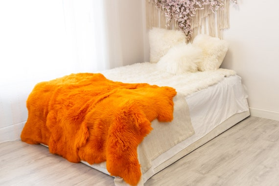 Triple Orange Merino Sheepskin Rug | Long rug | Shaggy Rug | Chair Cover | Area Rug | Orange Rug | Carpet | Orange Throw | Sheep Skin
