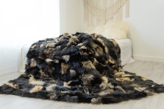 Rare Exclusive Genuine Natural Fox Rug, Pelt, soft l Real Real Fox Blanket  Exclusive Throw Graphite Brown Fox Throw Scandinavian Decor XXL