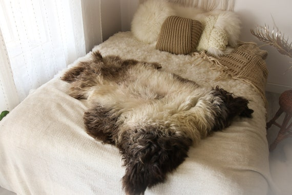 Real Sheepskin Rug Shaggy Rug Chair Cover Sheepskin Throw Sheep Skin Ivory Brown Sheepskin Home Decor Rugs #OCTHER73