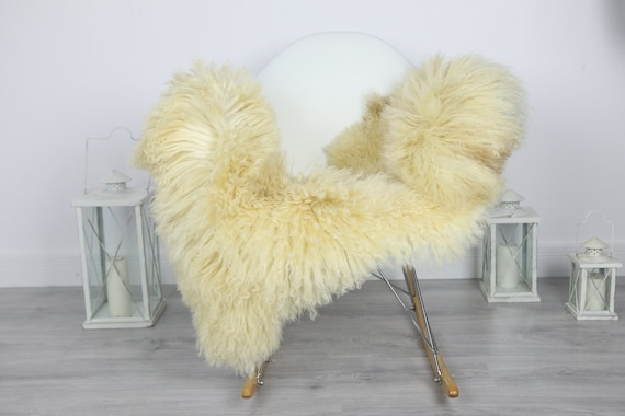 Genuine Rare Tuscan Lamb Sheepskin Rug - Curly Fur Rug - Natural Sheepskin - Ivory Sheepskin | #CURLY39
