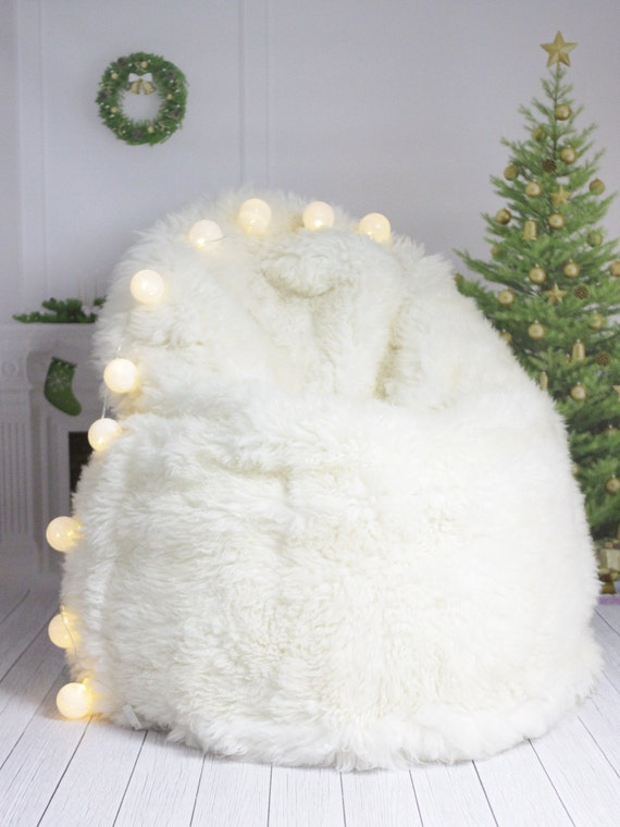 ON SALE Sheepskin Beanbag White | Sheepskin Bean Bag | Sheepskin Pouf | Bean Bag Huge Bean Bag Furry Bean Bag | Bean Bag | Beanbag