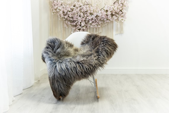 Real Sheepskin Merino Rug Shaggy Rug Chair Cover Sheepskin Throw Sheep Skin Sheepskin Home Decor Rugs Blanket Gray Brown #herdwik175