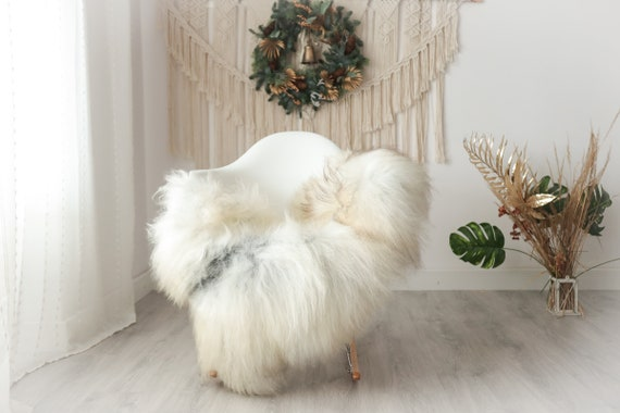 Real Icelandic Sheepskin Rug Scandinavian Decor Sofa Sheepskin throw Chair Cover Natural Sheep Skin Rugs Gray White #Iceland39