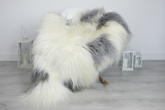 Real Sheepskin Rug Shaggy Rug Chair Cover Sheepskin Throw Sheep Skin Gray White Sheepskin Home Decor Rugs #7her56