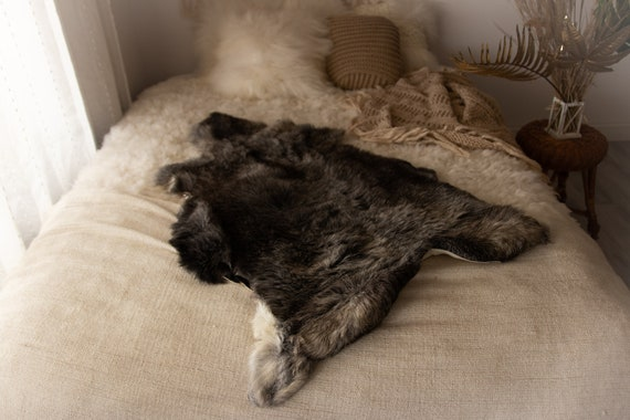 Real Sheepskin Rug Shaggy Rug Chair Cover Sheepskin Throw Sheep Skin Gray Sheepskin Home Decor Rugs Sheep skin Grey #Nugut11