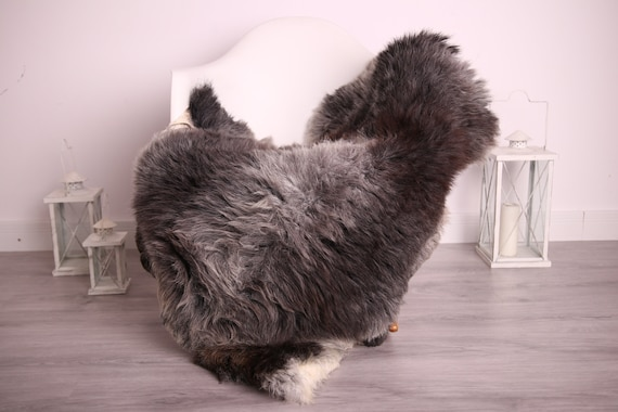 Real Sheepskin Rug Shaggy Rug Chair Cover Sheepskin Throw Sheep Skin Gray Brown Sheepskin Home Decor Rugs #9her11