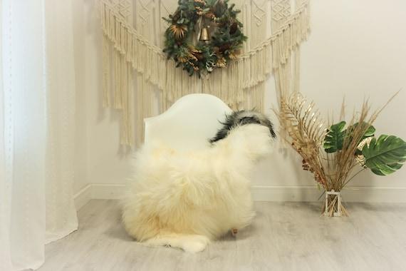 Real Icelandic Sheepskin Rug Scandinavian Decor Sofa Sheepskin throw Chair Cover Natural Sheep Skin Rugs Ivory Gray #Iceland81