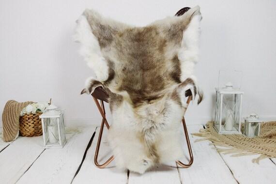 Reindeer Hide | Reindeer Rug | Reindeer Skin | Throw XXL EXTRA LARGE - Scandinavian Style Christmas Decor Brown White Hide #Kre18