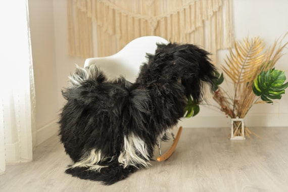 Real Icelandic Sheepskin Rug Scandinavian Decor Sofa Sheepskin throw Chair Cover Natural Sheep Skin Rugs Black #Iceland12
