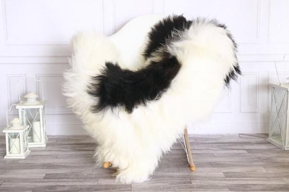 Icelandic Sheepskin | Real Sheepskin Rug | Sheepskin Rug White Black | Fur Rug | Homedecor #WRZISL27