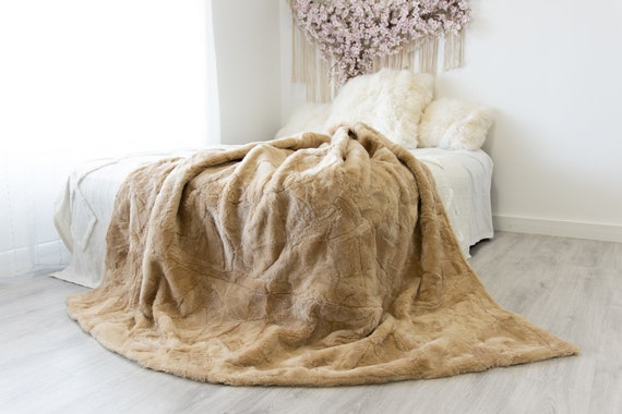Luxurious Patchwork Toscana Sheepskin Real Fur Throw | Real Fur Blanket | Sheepskin throw | Sheepskin Blanket Boho Throw Beige #FuFu84
