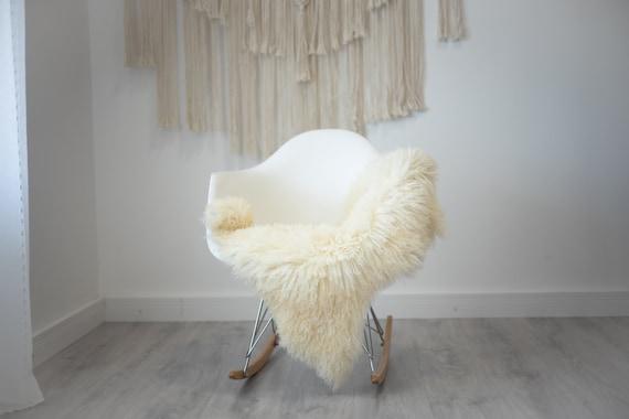 Real Sheepskin Rug Genuine Rare Curly Sheepskin - Curly Fur Rug Scandinavian Sheep skin - Ivory White Sheepskin #G28