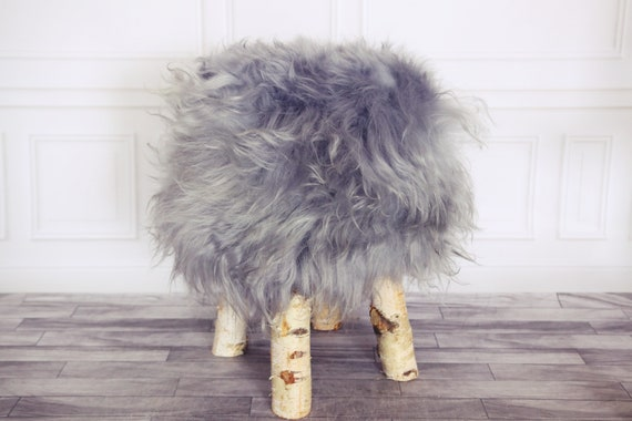 Wood Stool | Grey Fur Stool | Sheepskin pouf | Icelandic Sheepskin stool | Vanity Stool | Birch tree stool | Grey stool