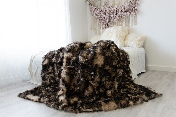 Luxurious Patchwork Toscana Sheepskin Real Fur Throw | Real Fur Blanket | Sheepskin throw | Sheepskin Blanket Boho Throw White Brown #FuFu82