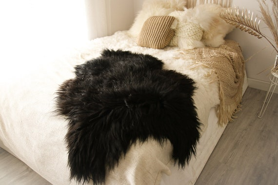 ON SALE BIG Sale Black Sheepskin | Icelandic Sheepskin | Real Sheepskin Rug | Scandinavian Sheep skin| Shaggy Rug | Chair Cover | home decor