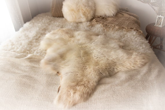 Real Sheepskin Rug Shaggy Rug Chair Cover Sheepskin Throw Sheep Skin Ivory Brown Sheepskin Home Decor Rugs #KWAHER10