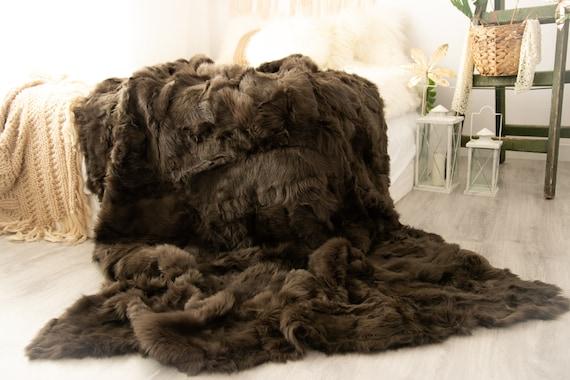 Luxurious Toscana Sheepskin Real Fur Bed Spread Throw Real Fur Blanket Sheepskin Sofa Cover Luxury Blanket Comforter Olive Green  #FU991