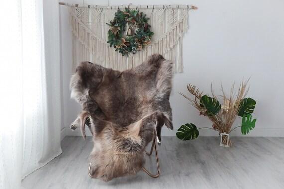 Reindeer Hide | Reindeer Rug | Reindeer Skin | Throw XXL EXTRA LARGE - Scandinavian Style Christmas Decor Brown White Hide #Pre10