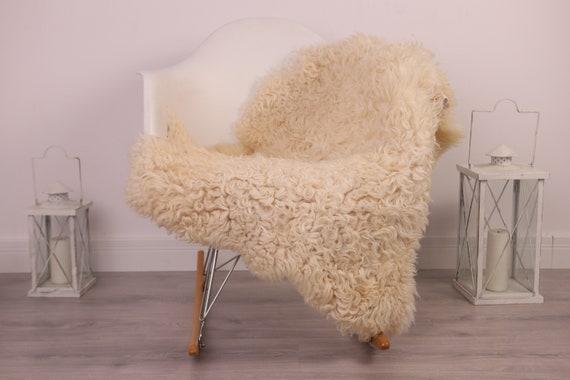 Real Sheepskin Rug Genuine Rare Gotland Sheepskin Rus - Curly Fur Rug Scandinavian Sheepvskin - White Sheepskin #4Margot23