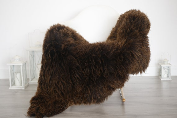 Real Sheepskin Rug Shaggy Rug Chair Cover Sheepskin Throw Sheep Skin Brown White Sheepskin Home Decor Rugs #6her57