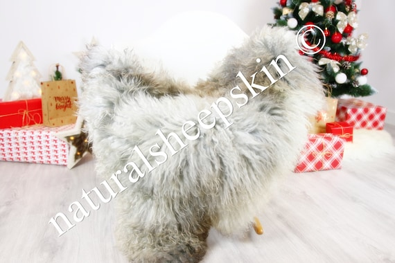 Genuine Rare Gotland Sheepskin Rug - Curly Fur Rug - Natural Sheepskin - Gray  Sheepskin #CHRISTGOT5
