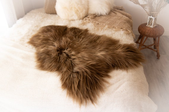 Real Icelandic Sheepskin Rug Scandinavian Decor Sofa Sheepskin throw Chair Cover Natural Sheep Skin Rugs Brown Blanket Fur Rug #KWAISL10