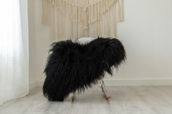 Real Black Curly Icelandic Sheepskin Rug Scandinavian Decor Sofa Sheepskin throw Chair Cover Natural Sheep Skin Rugs White Black #Iceland377