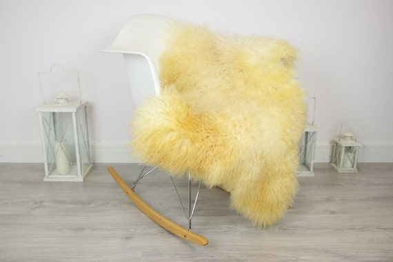 Genuine Rare Tuscan Lamb Sheepskin Rug - Curly Fur Rug - Natural Sheepskin - Beige Ivory Sheepskin | Small Sheepskin #3MARGOT1