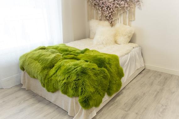 Quad Green Merino Sheepskin Rug | Long rug | Shaggy Rug | Chair Cover | Area Rug | Green Rug | Carpet | Green Throw | Sheep Skin